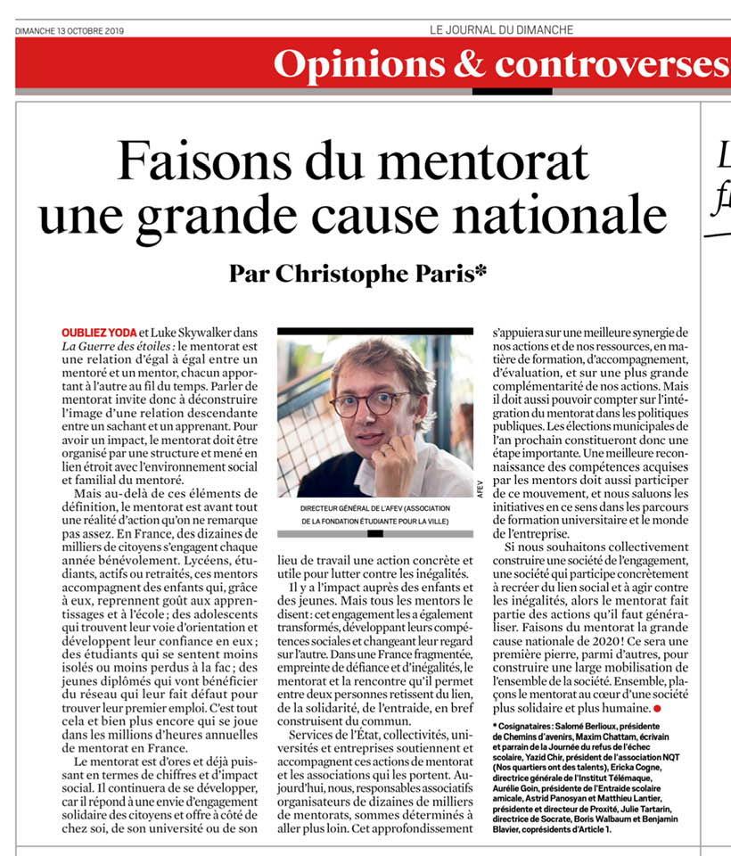 Tribune «Faisons du mentorat une grande cause nationale»
